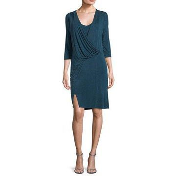 Three Dots Womens Draped Wrap Dress