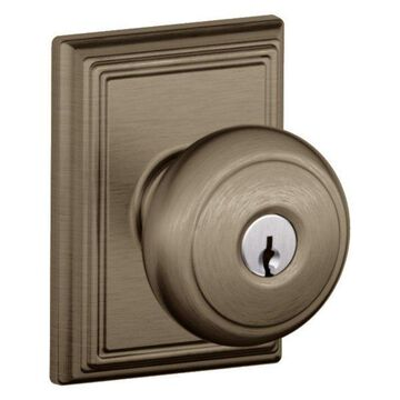 Schlage F51-AND-ADD Andover Keyed Entry Panic Proof Door Knob Set with Decorati