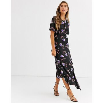 Liquorish asymmetric maxi dress in floral-Multi