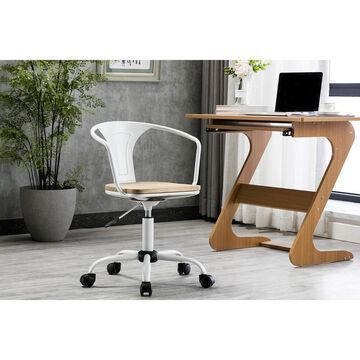 Porthos Home Ines Swivel Office Chair, Wooden Seat, Iron Backrest