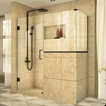 Dreamline Satin Black With Clear Glass, Hinged Shower