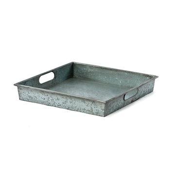 Benzara Square Galvanized Metal Tray With Handle, Gray