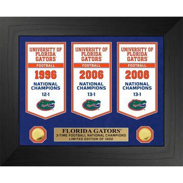 Highland Mint Florida Gators 3-Time Football National Champions 18'' x 22'' Gold Deluxe Banner Frame