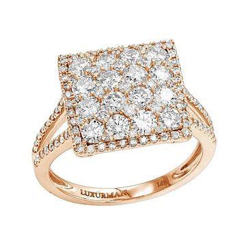Luxurman 2 Carat 14K Gold Cluster Diamond Engagement Ring