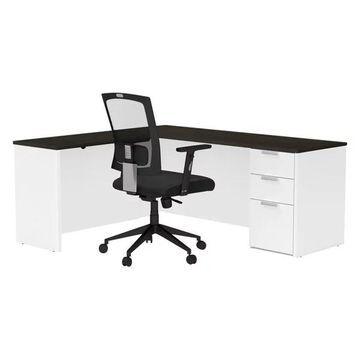 Bestar Pro Concept Plus L Desk in White and Deep Gray