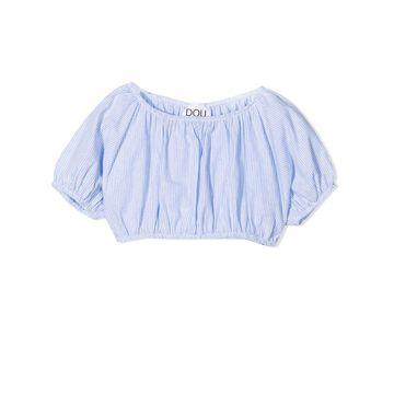 Douuod Blue Cotton And Linen Blend Top