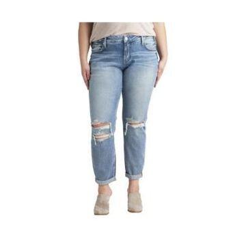 Silver Jeans Co. Plus Size Boyfriend Mid Rise Slim Leg Jeans