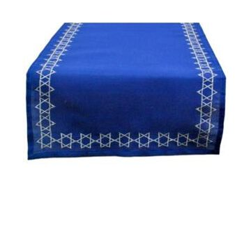 Design Imports Embroidered Star David Table Runner