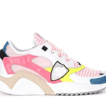 Philippe Model Eze Mondial Metal Sneaker In Leather And Fuchsia Paint Leather