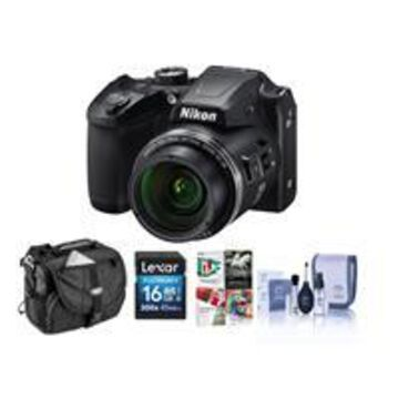Nikon Coolpix B500 Digital Point Shoot Camera, Black - Bundle With Camera Bag, 16GB Class 10 SDHC Card, Cleaning Kit, Software Package