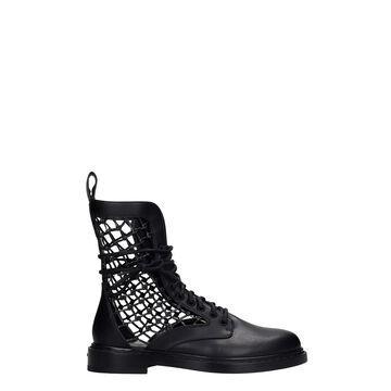 Le Silla Vanessa Combat Boots In Black Leather