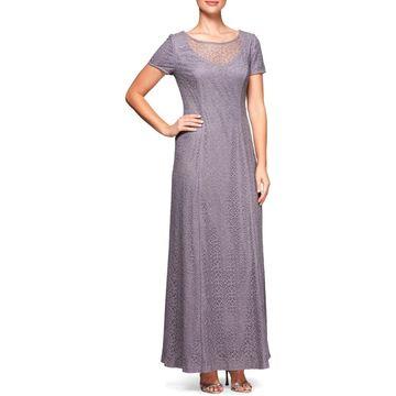 Alex Evenings Womens Evening Dress Lace Illusion