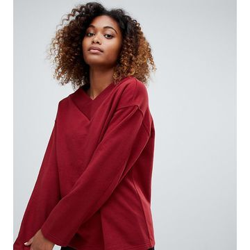 Weekday V-neck sweatshirt in dark red