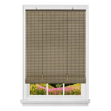 Achim Veranda 0.25-in Slat Width 60-in x 72-in Cordless Brown Vinyl Room Darkening Roll-up Blinds
