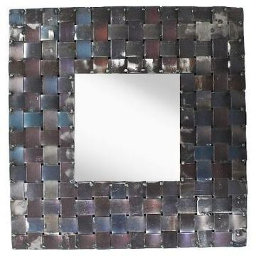 Square Metal Basket Weave Decorative Wall Mirror - PTM Images