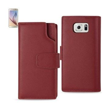 Samsung Galaxy S6 Genuine Leather Wallet Case With Open Thumb Cut In Burgundy