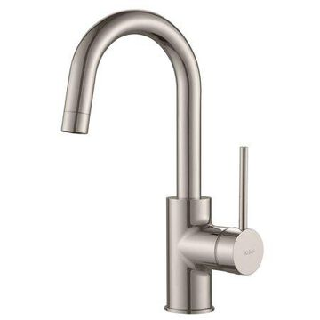 KRAUS Spot Free Oletto Single Handle Kitchen Bar Faucet in all-Brite Stainless Steel Finish