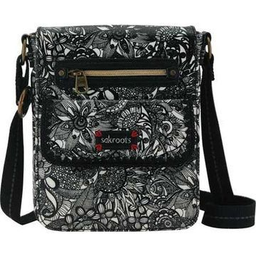 Sakroots Women's Artist Circle Small Flap Messenger Bag Black and White Spirit Desert - US Women's One Size (Size None)