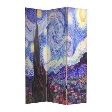 Oriental Furniture 3-Panel Printed Canvas Fabric Folding Contemporary/Modern Style Room Divider | CAN-VANG
