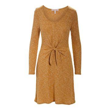 Derek Heart Women's Casual Dresses GOLDEN - Golden Yellow Tie-Waist Midi Dress - Juniors