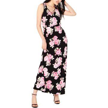 Trixxi Womens Juniors Criss-Cross Front Floral Print Maxi Dress