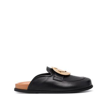 smiley-buckle leather slippers