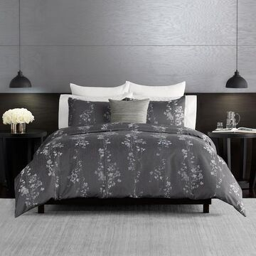 Simply Vera Vera Wang Dark Linear Floral 3-piece Duvet Cover Set