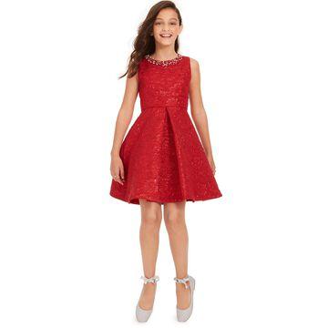 Big Girls Embellished Brocade Dress