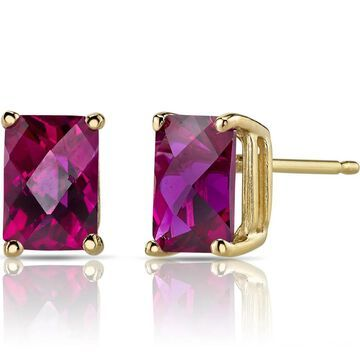 Oravo 14k Yellow Gold 2 1/2ct TGW Created Ruby Radiant-cut Stud Earrings (Yellow - Red - Ruby - Red)