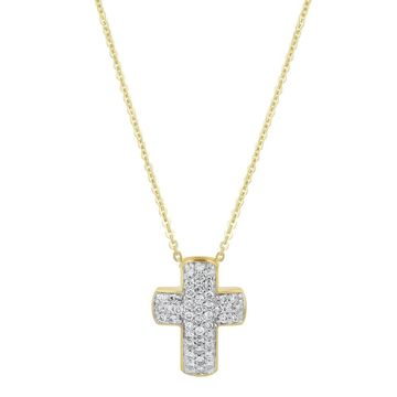 14k Yellow Gold 3/8ct. TDW Cross Necklace by Beverly Hills Charm