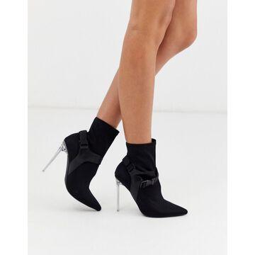 London Rebel stiletto harness boots in black