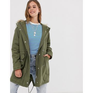 New Look cotton parka jacket in khaki-Green