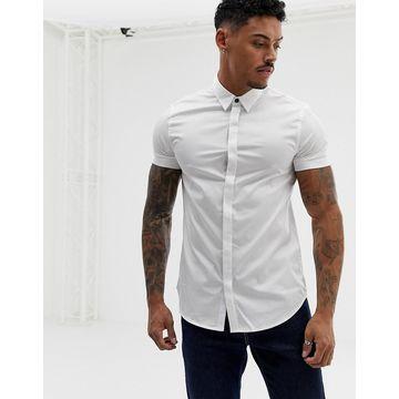 Armani Exchange slim fit poplin short sleeve shirt in white