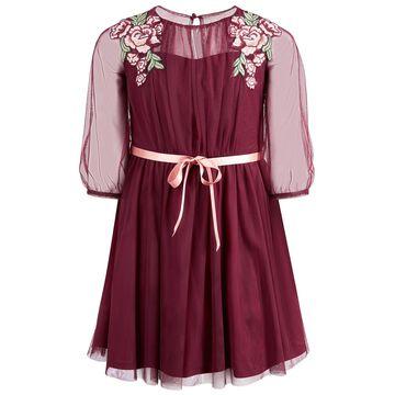Big Girls Embroidered Mesh Overlay Dress