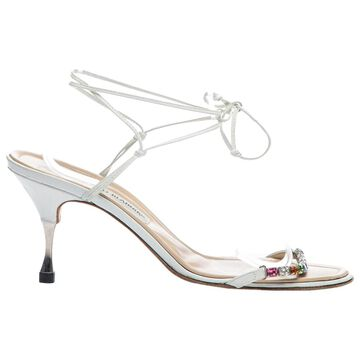 Manolo Blahnik White Leather Heels