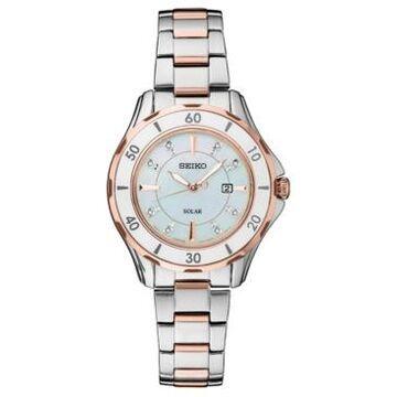 Seiko Women's Solar Dress Sport Diamond-Accent Two-Tone Stainless Steel Bracelet Watch 33mm