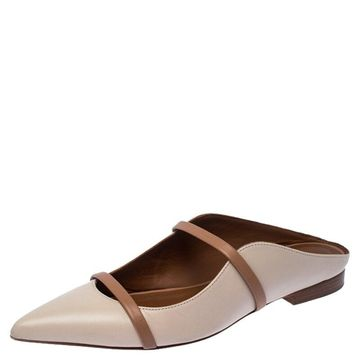 Malone Souliers Beige/Brown Leather Maureen Pointed Toe Mules Size 35.5