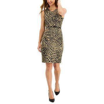 Kasper Animal-Print V-Neck Belted Sheath Dress