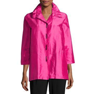 Plus Size Shantung Silk Shirt Jacket