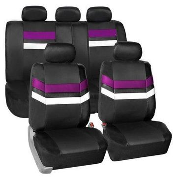 FH Group Varsity Spirit PU Leather Universal Fit Purple Car Seat Covers