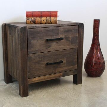 International Caravan Malmo Two-drawer Solid Acacia Hardwood Side Table (Brown - Acacia)