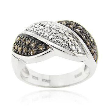 DB Designs Sterling Silver 1/4ct TDW Brown Diamond Wave Ring (6)
