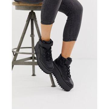 Bershka EVA flatform hi top sneakers in black