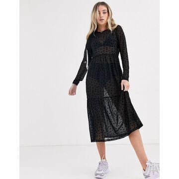 Noisy May mesh smock midi dress with star embroidery-Black
