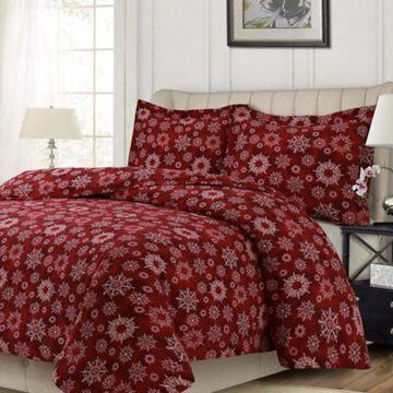 Tribeca Living Christmas Eve Queen Duvet Cover Set in Deep Red