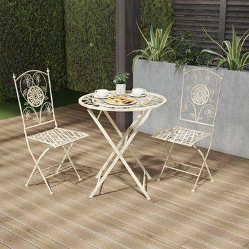Folding Bistro Set A 3PC Table and Chairs with Lattice & Flower Design A Outdoor Furniture for Garden, Patio, Porch by Lavish Home (Antique White)