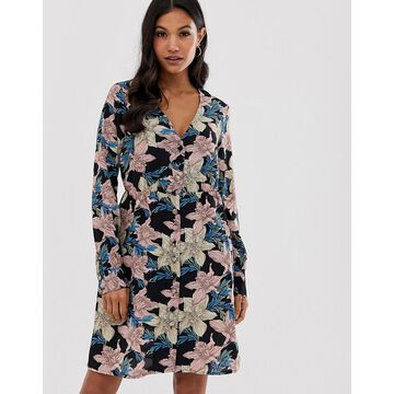 Vila floral button front dress-Multi