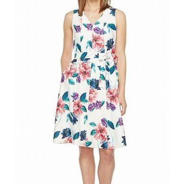 Ellen Tracy Womens Dress Sheath V-Neck Floral-Print