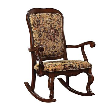 Benzara Brown Wood Frame Rocking Chair(s) with Cushioned Seat | BM151942
