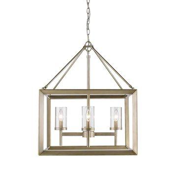 Golden Lighting Smyth White Gold 4 Light Chandelier With Clear Glass